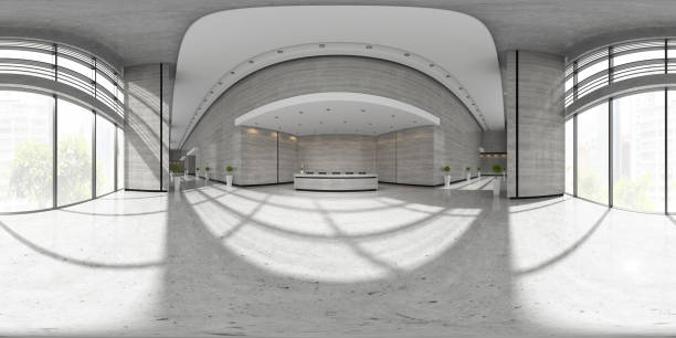Spherical 360 panorama projection Interior of reception 3D illustration Spherical 360 panorama projection Interior of reception 3 D illustration 360 degree view stock pictures, royalty-free photos & images