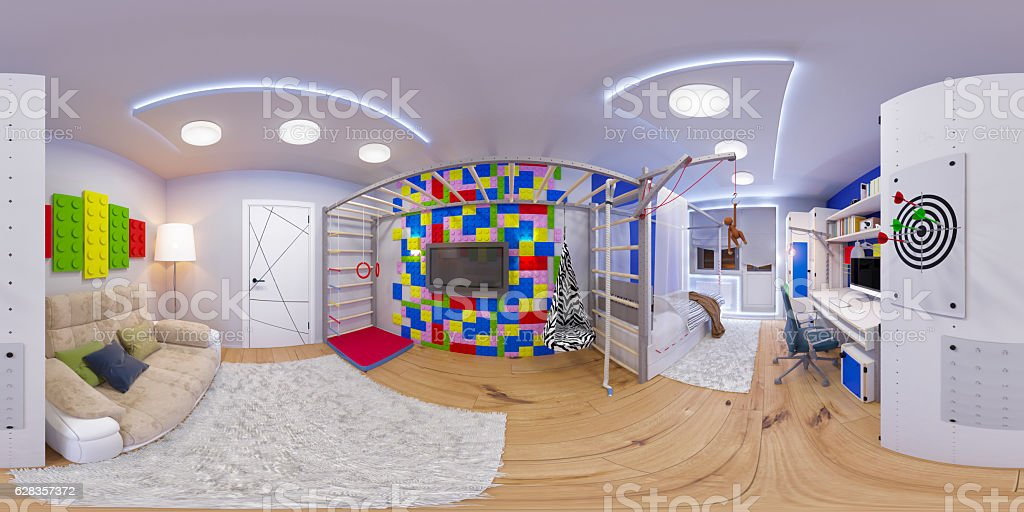 spherical 360 seamless panorama of children's room stock photo
