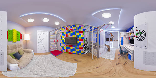 spherical 360 seamless panorama of children's room 3d illustration spherical 360 degrees, seamless panorama of children's room interior design. Design a child's room for a boy in bright color tones 360 degree view stock pictures, royalty-free photos & images