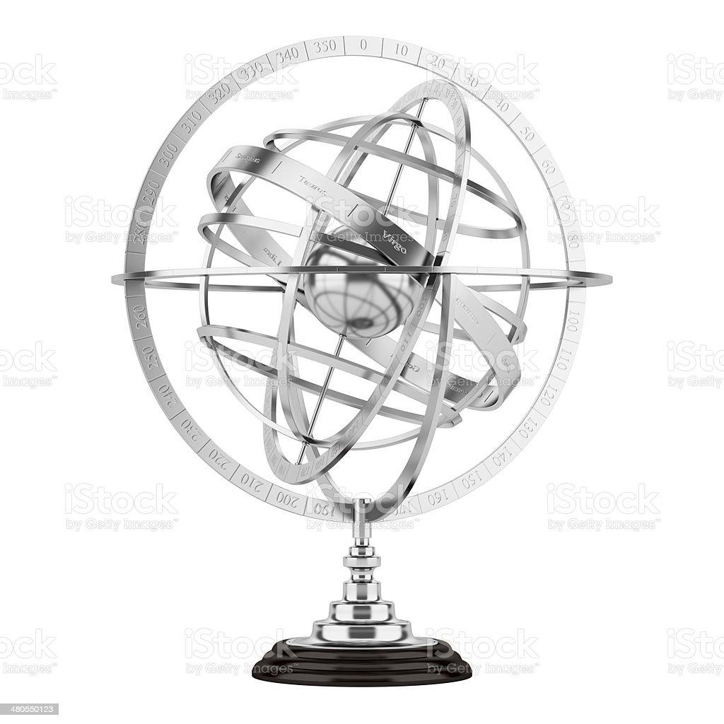 Esférico astrolabio aislado sobre fondo blanco - foto de stock