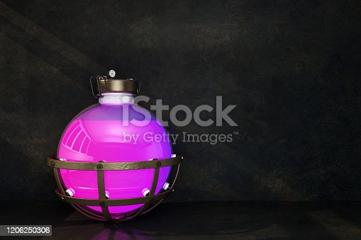 istock spherical flask with pink liquid on a dark background 1206250306