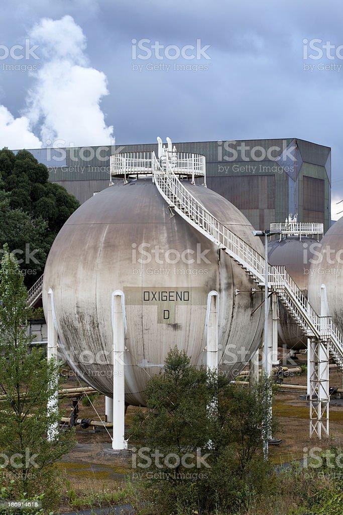 Spherical gas tank. stock photo