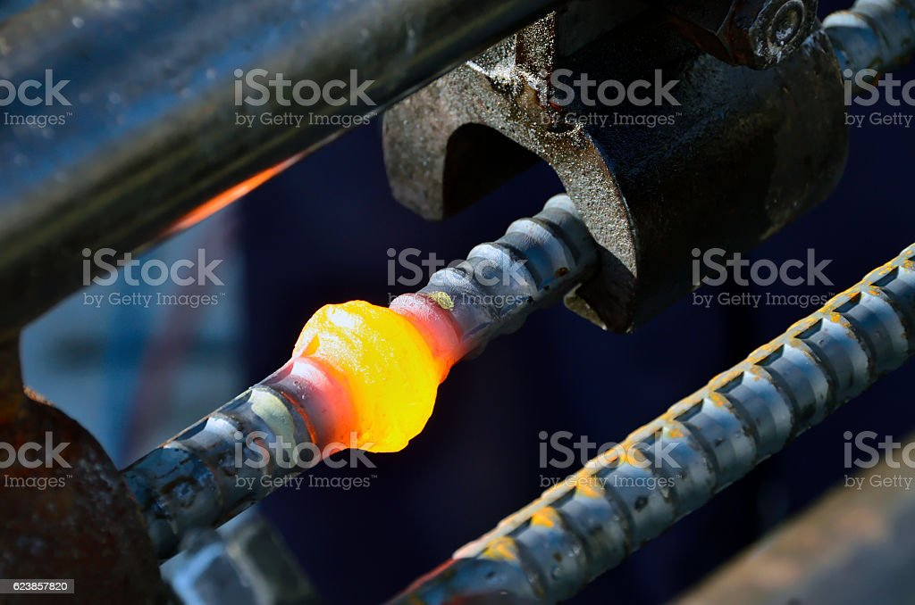 spherical joint by press welding stock photo