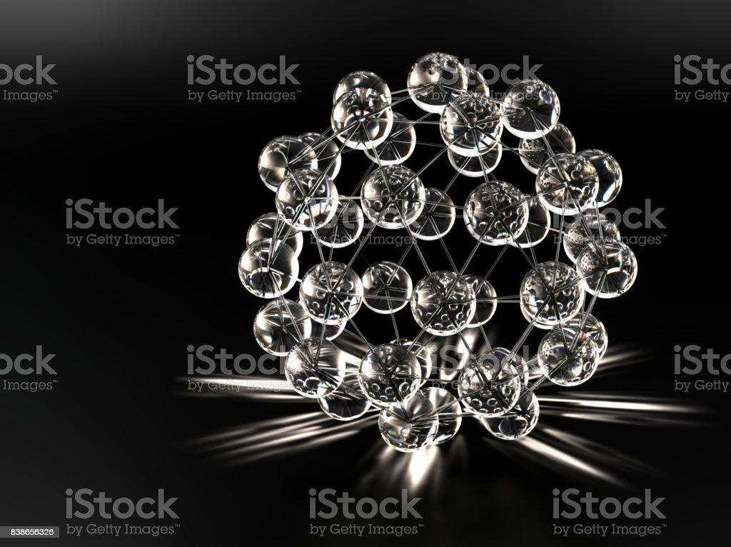 Spherical nano structure with white caustics stock photo