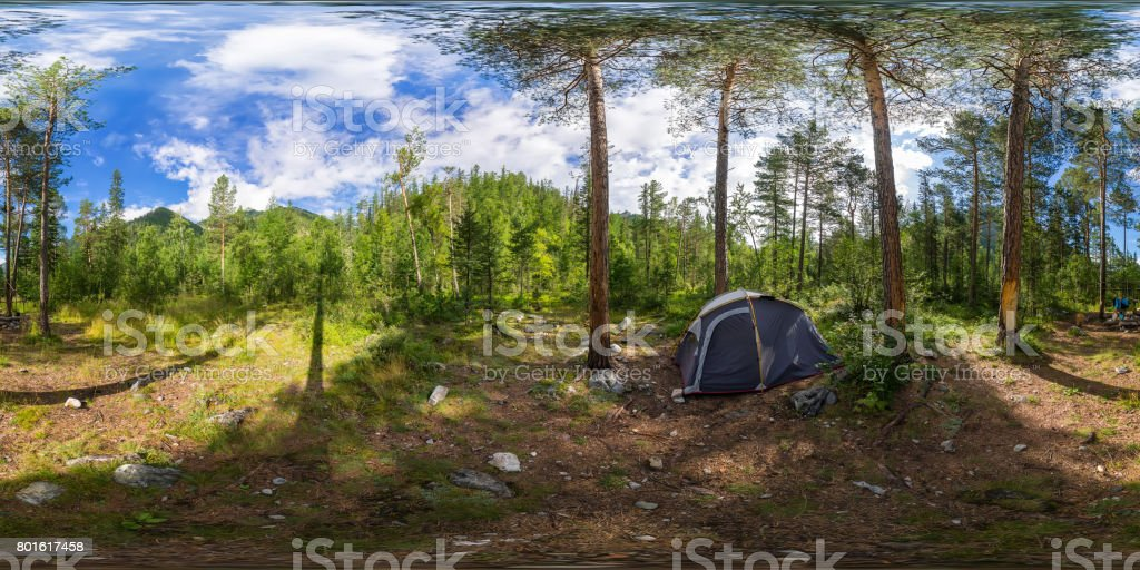 Spherical panorama 360 degrees 180 tent on camping in the forest stock photo