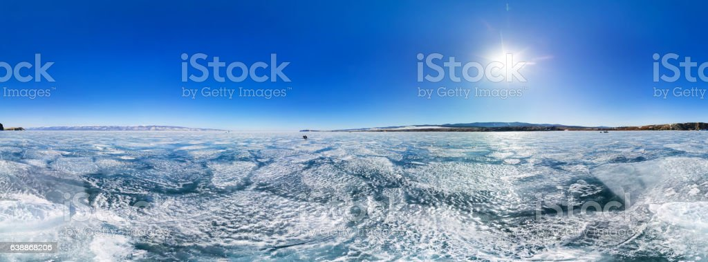 Spherical panorama 360 Ice cracks of lake Baikal stock photo