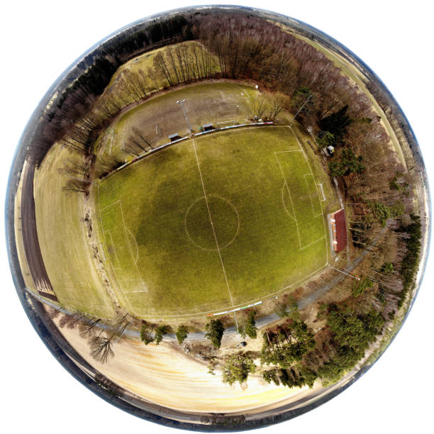 Spherical panorama from composite aerial photos of a football field in a village in the heath stock photo