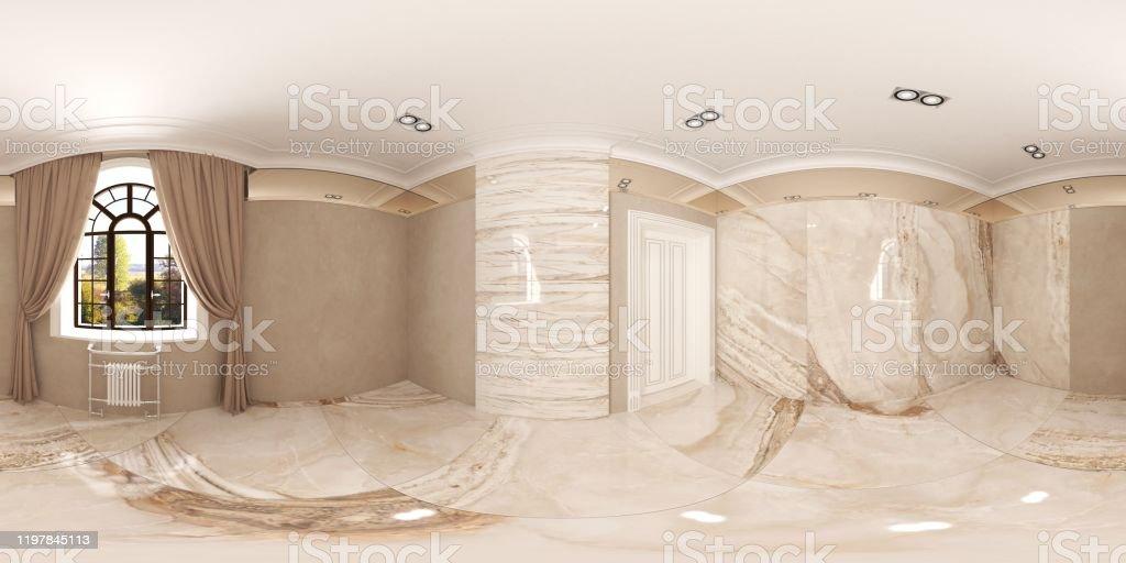 iç küresel panorama, 3D illüstrasyon - Royalty-free 360 Derecelik Görünüm Stok görsel