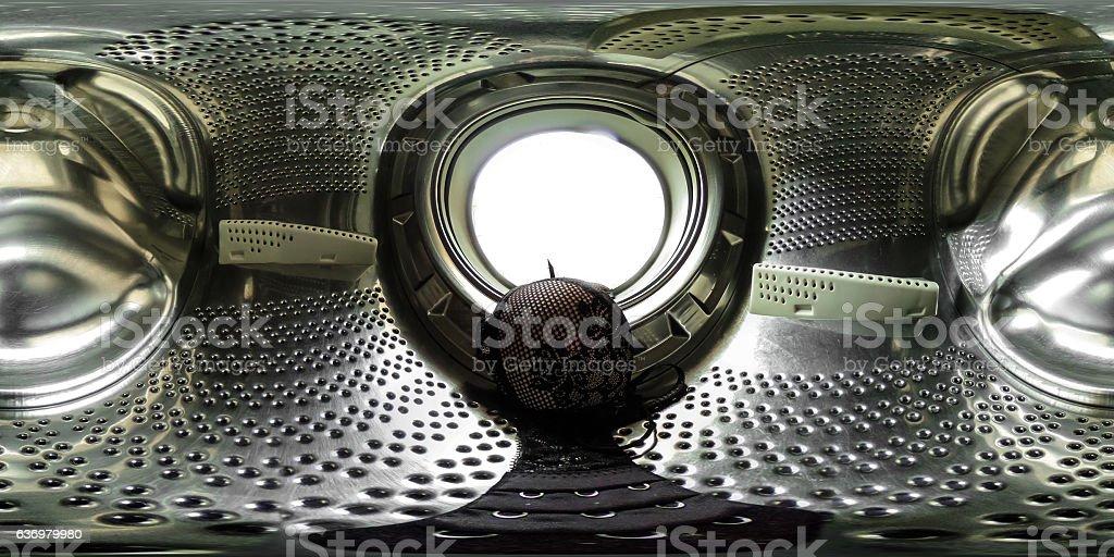 Spherical panorama  washing machine with lingerie - Photo