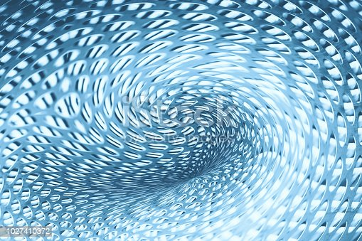 istock Spherical warp of space at edge of shot. Fantastic background image of wormhole of metallic and blue color. 1027410372