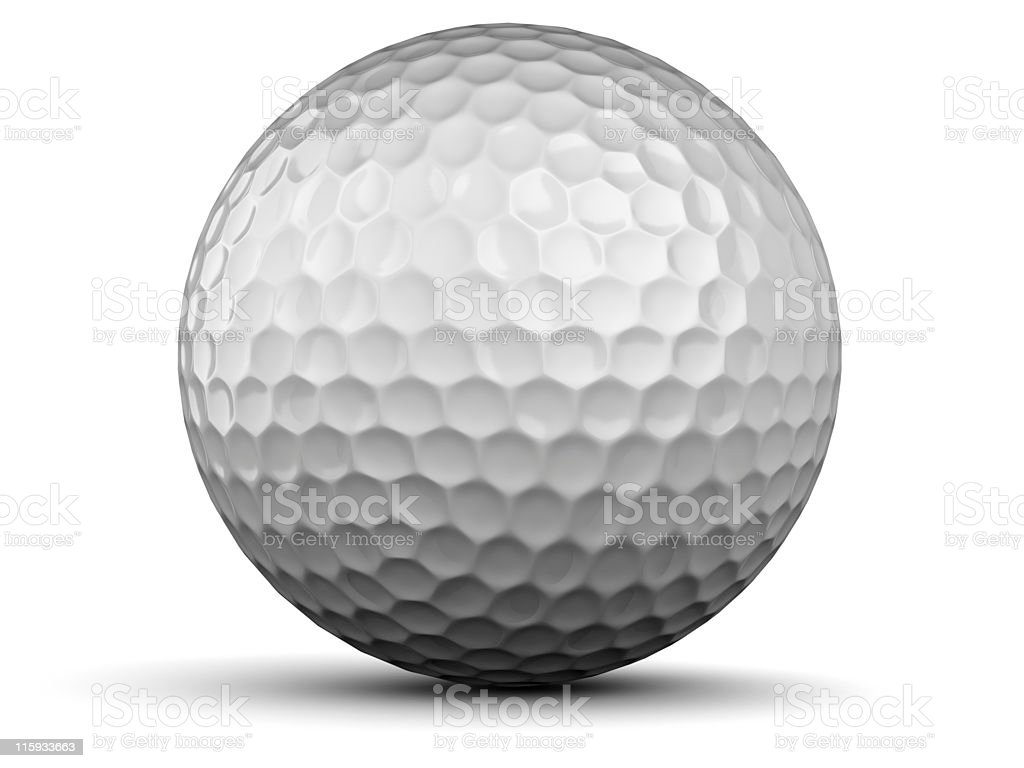 A spherical white dimples golf ball on a white background royalty-free stock photo
