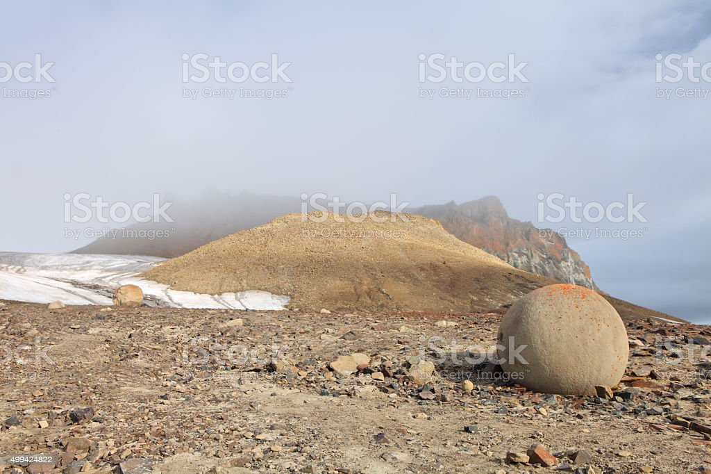 Spherolith - mysterious stones from Arctic stock photo