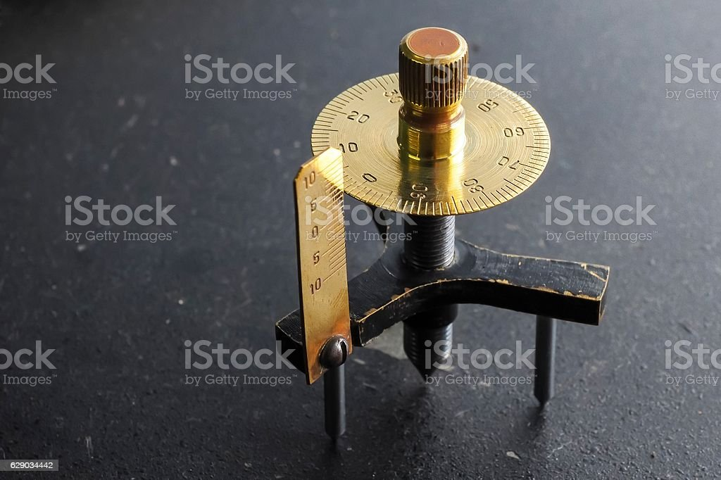 Spherometer made from brass stock photo