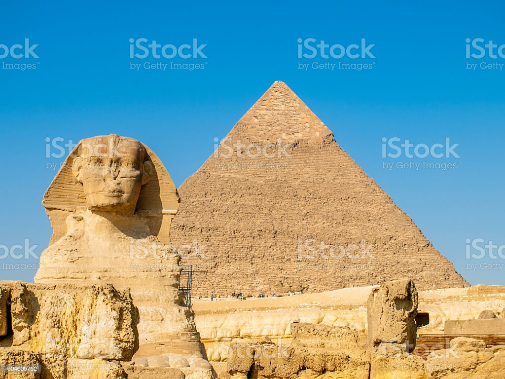 Sphinx and a pyramid in Giza in Cairo, Egypt stock photo