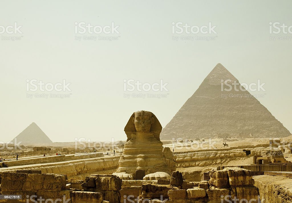 Sphinx and Giza Pyramids in Egypt royalty-free stock photo