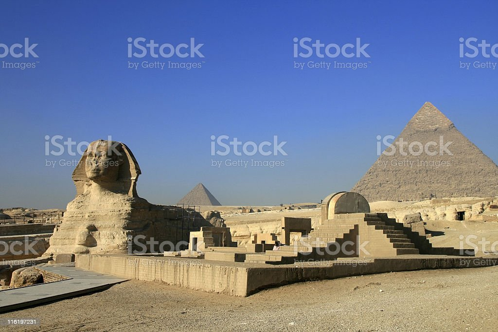 Sphinx and Khafre Pyramid in Cairo, Egypt stock photo