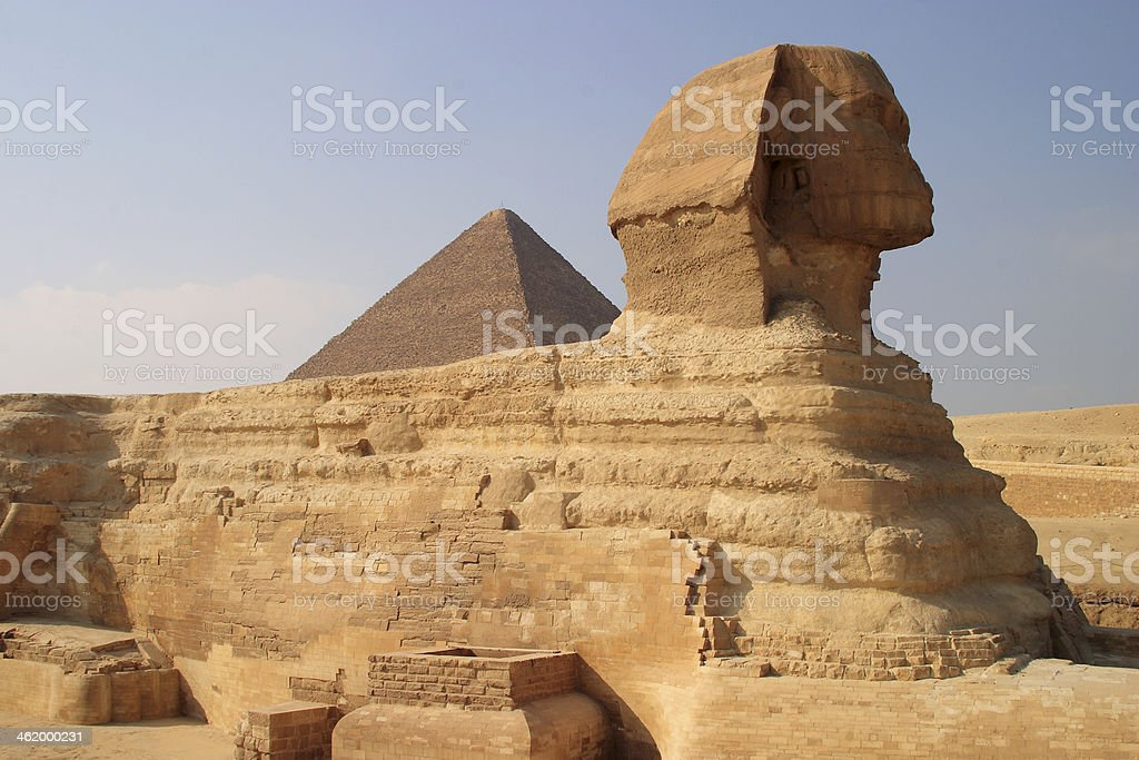Sphinx and pyramid, Giza, Cairo, Egypt. royalty-free stock photo