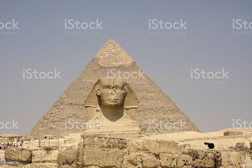 Sphinx and pyramid giza royalty-free stock photo
