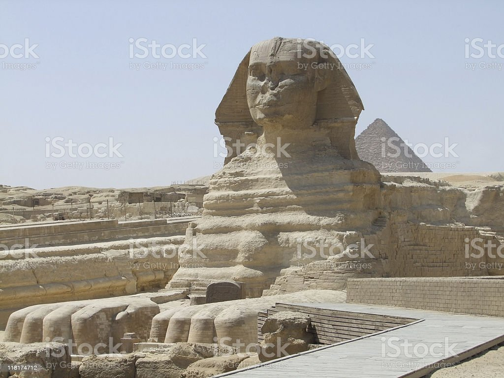 Sphinx and Pyramid of Menkaure royalty-free stock photo