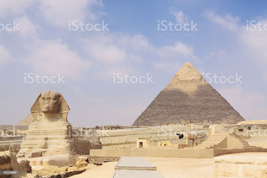 Sphinx and pyramid on the giza egypt royalty-free stock photo