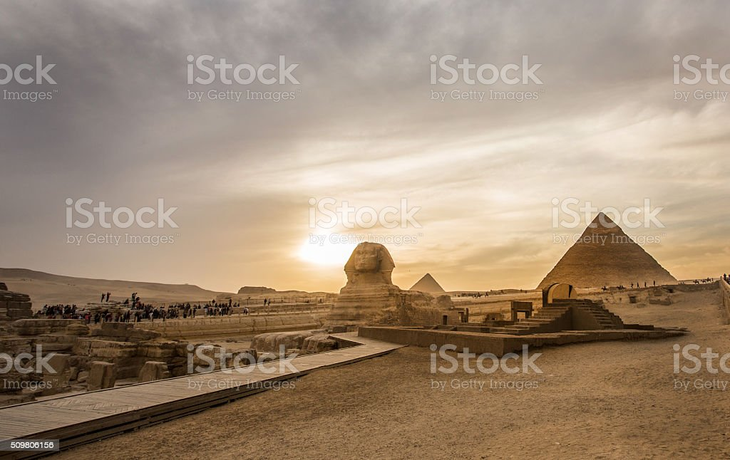 Sphinx and Pyramids stock photo
