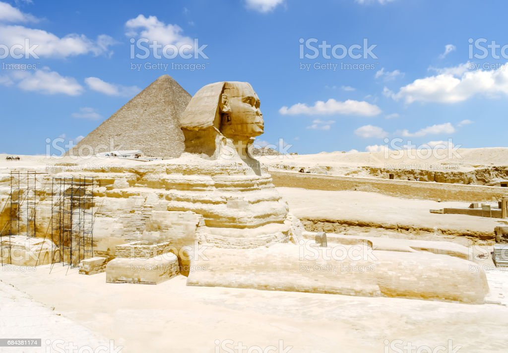 Sphinx and the Great Pyramid of Giza in the Egypt. stock photo