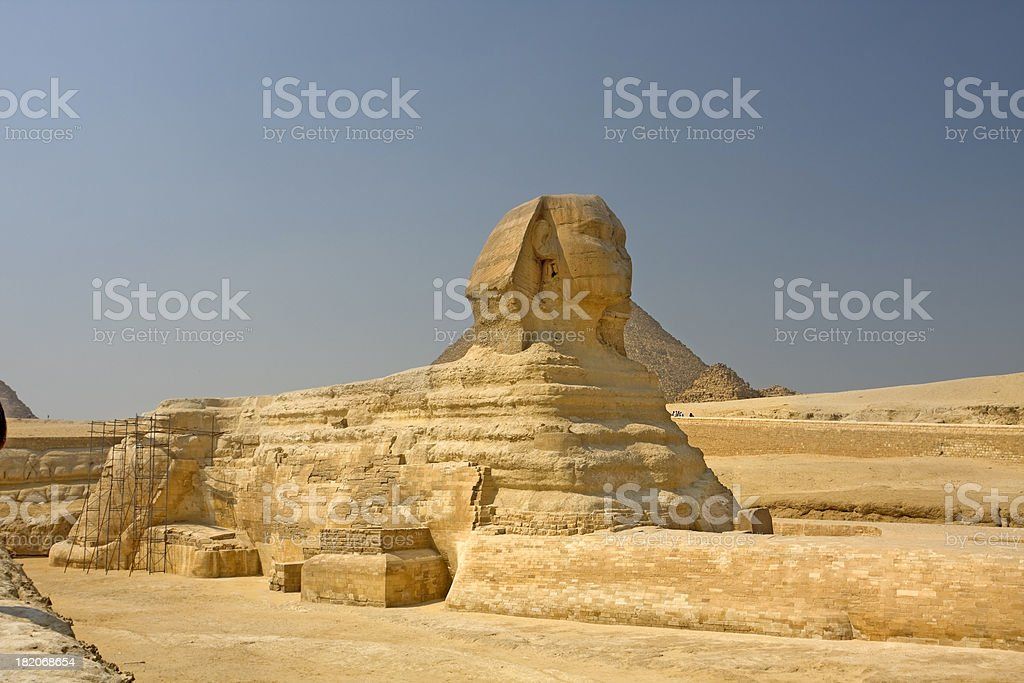 Sphinx and the Great Pyramid royalty-free stock photo
