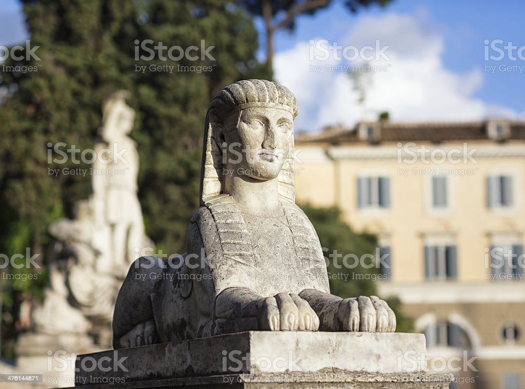 Sphinx at Piazza del Popolo, Rome Italy royalty-free stock photo