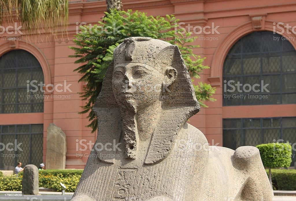 Sphinx at the Egyptian Museum, in front of Tahrir Square. stock photo
