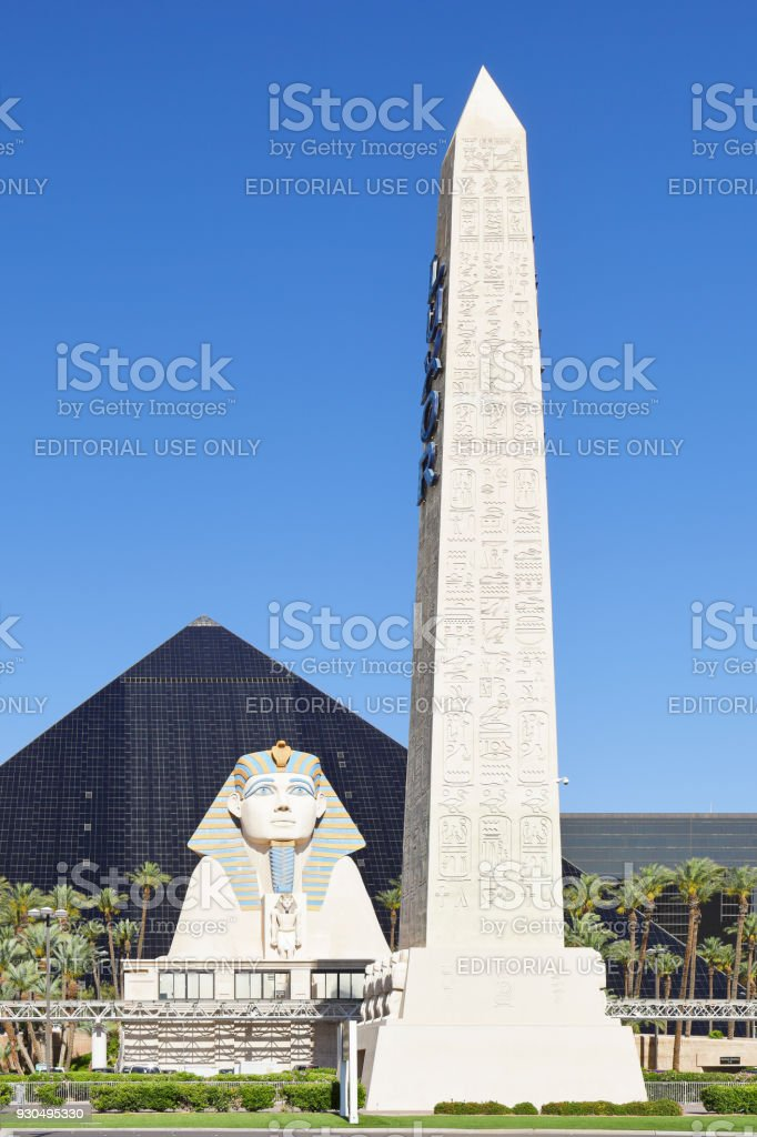 Sphinx + Obelisk - Luxor Las Vegas stock photo