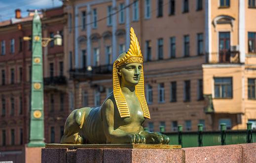 Sphinx of Egyptian bridge over the Fontanka river, St Petersburg