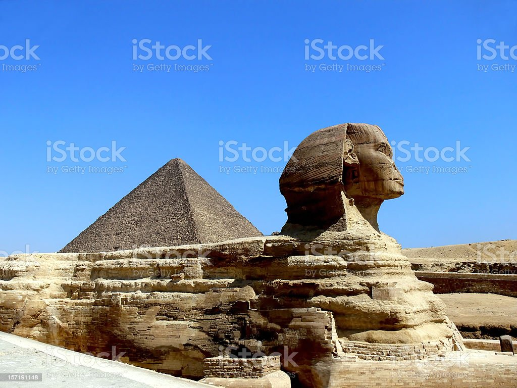 Sphinx of Gizeh and the Pyramid stock photo