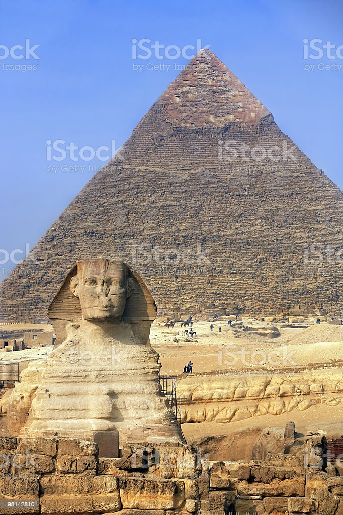 sphinx & the pyramids royalty-free stock photo