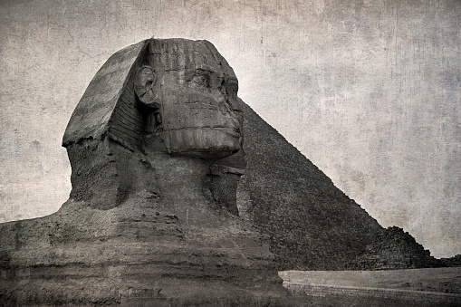 The Sphinx and Piramid, Giza, Egypt. Vintage style effect of old photo postcard.