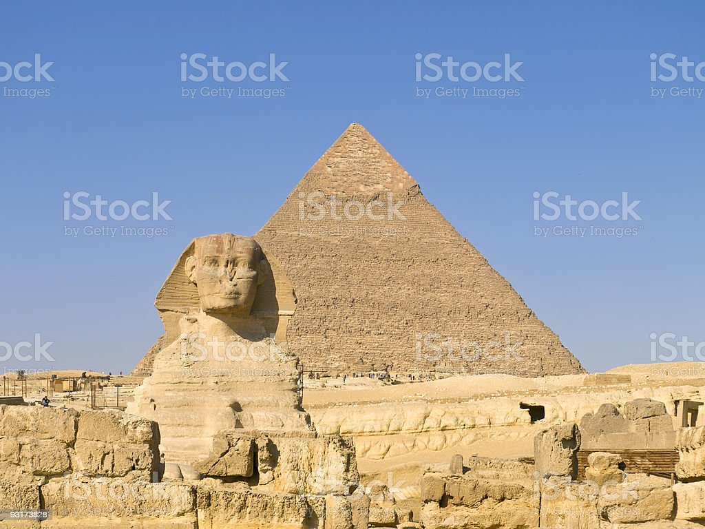 Sphinx with great Pyramid royalty-free stock photo