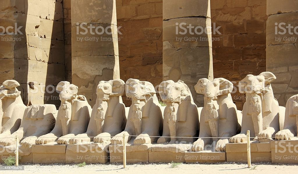 Sphinxes. The Karnak Temple Complex in Luxor, Egypt. stock photo