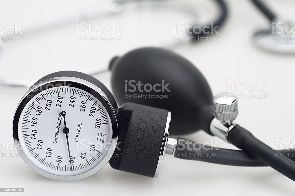 sphygmomanometer and stethoscope stock photo