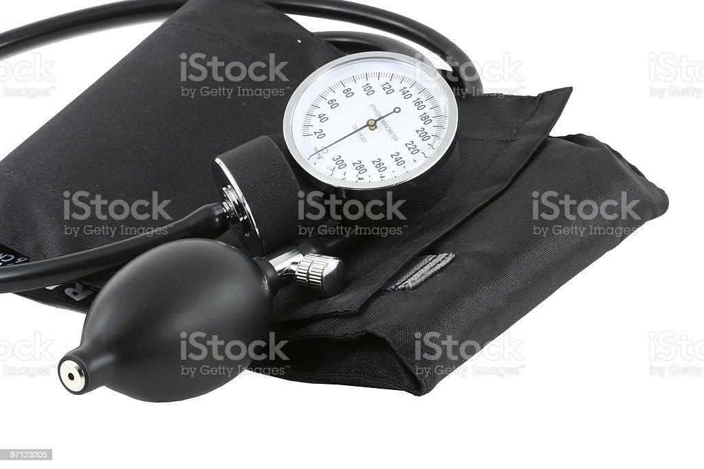Sphygmomanometer bulb and cuff stock photo