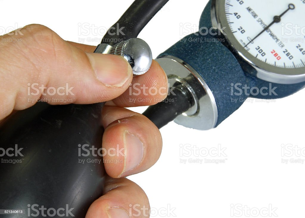 Sphygmomanometer with blood pressure meter stock photo