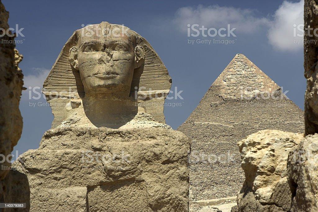 Sphynx and Pyramid royalty-free stock photo