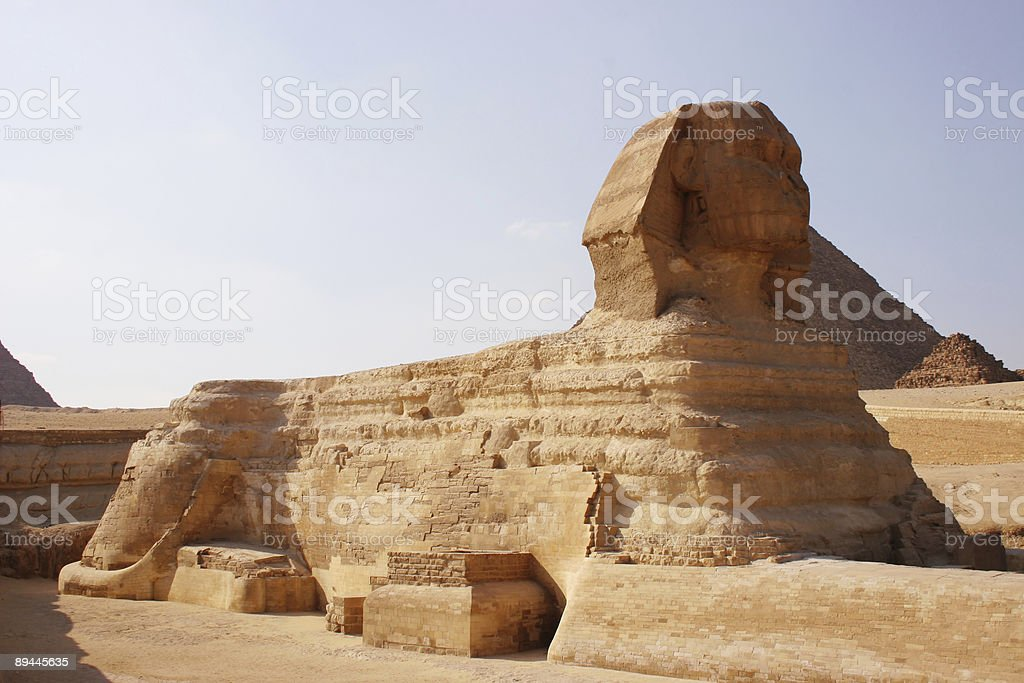 Sphynx and pyramids royalty-free stock photo