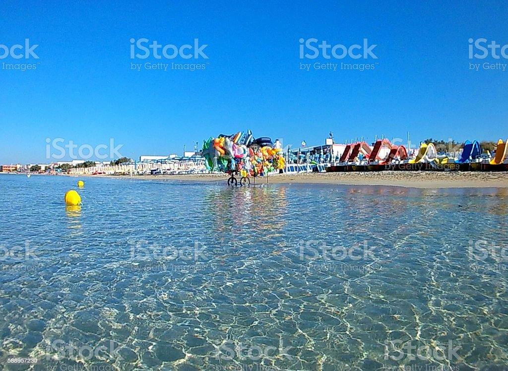 Spiaggia di Torre Lapillo dal mare stock photo