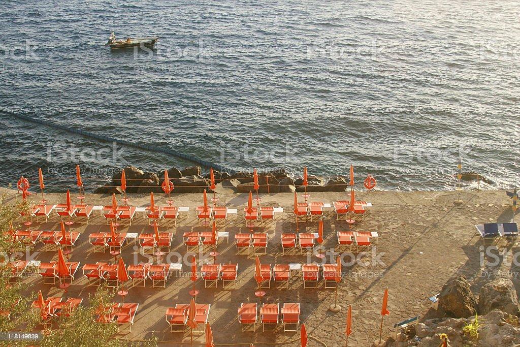 Spiaggia Grande - Positano Beach Club (Aerial View) stock photo