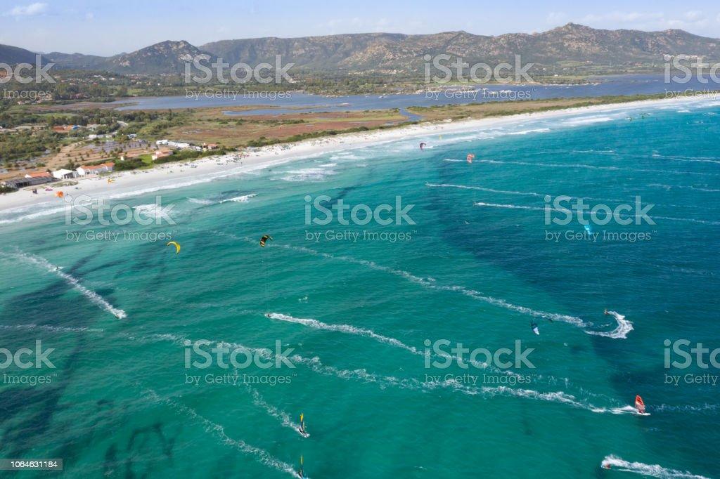 Spiaggia la Cinta, Kite und Surf-Strand, Sardinien, Italien – Foto