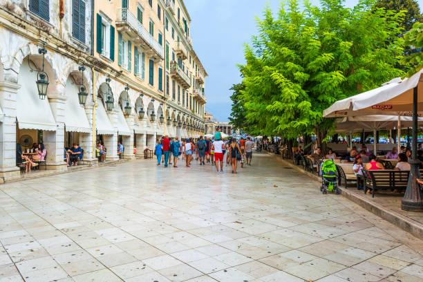 Spianada Square - Liston. The historic center of Corfu town, Greece. stock photo