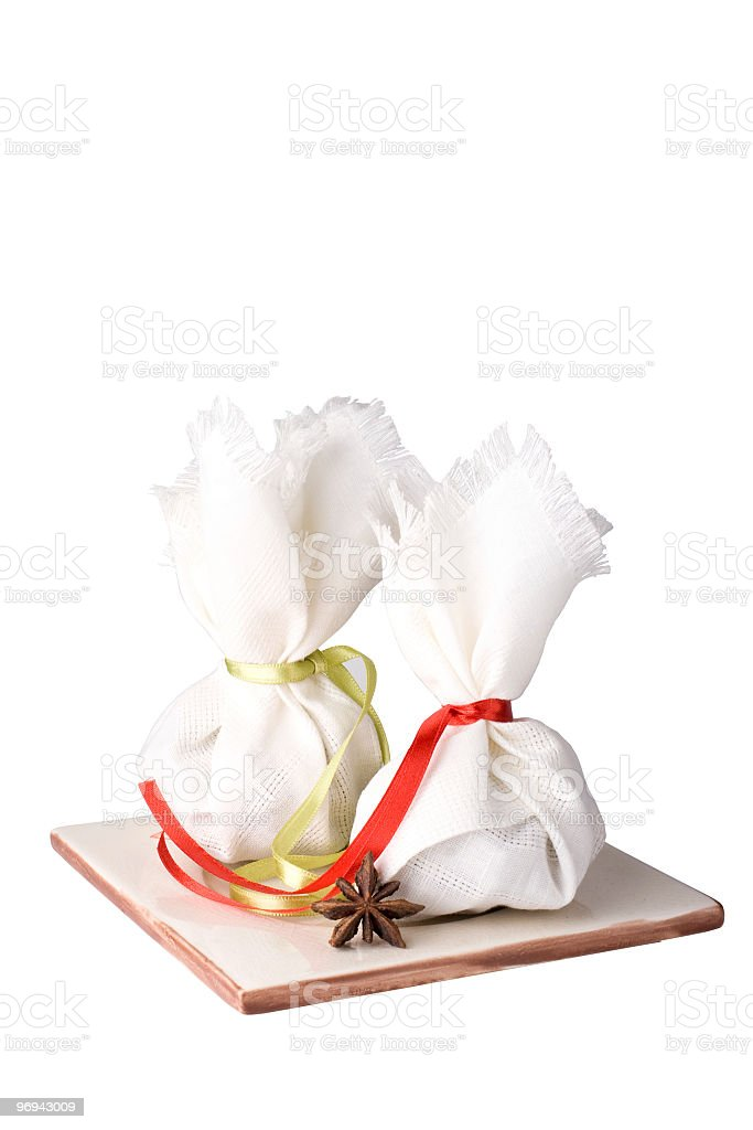 Spice and herb sachet bags royalty-free stock photo