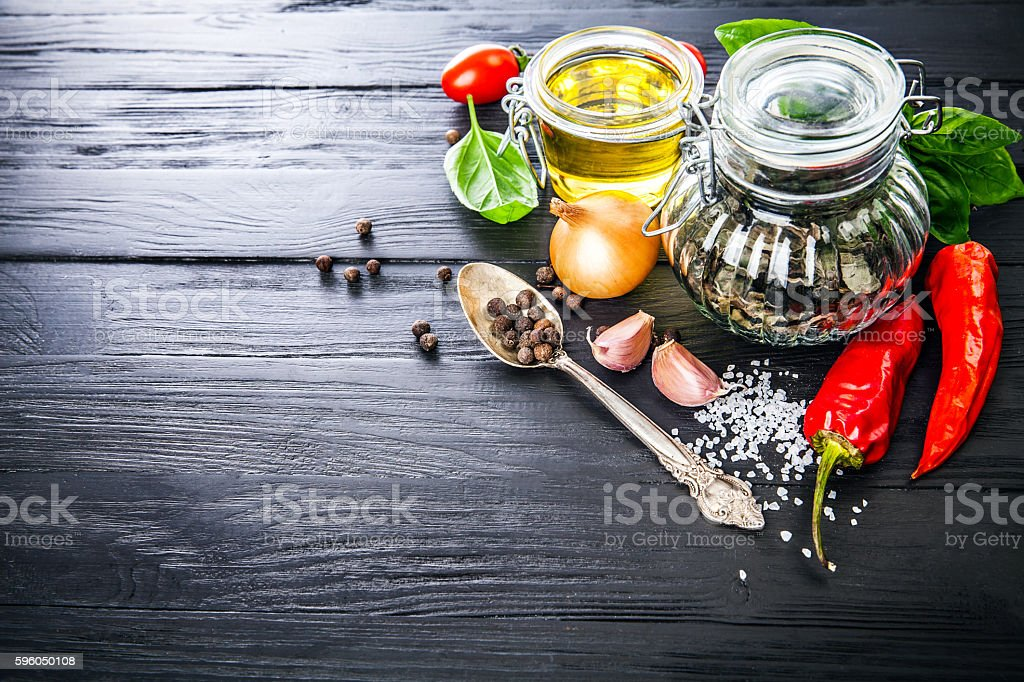 Spice and herbs still life of seasoning pepper royalty-free stock photo