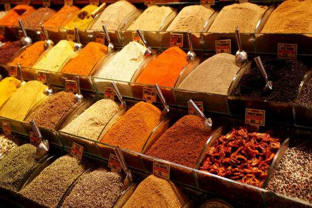 spice bazaar, istanbul - seasoning stock photos and pictures