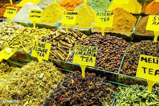 Herbs at Spice Bazaar, Istanbul, Turkey