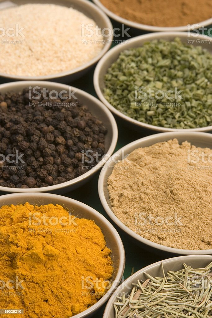 Spice bowls royalty-free stock photo